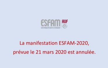 Suspension de la cérémonie de remise des diplômes ESFAM-2020.